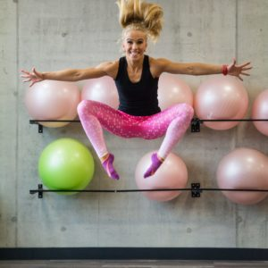 legginsy hantelki rozowe fitness